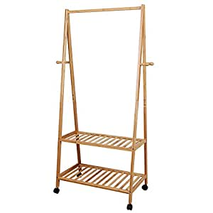 SONGMICS Garment Clothing Rack Bamboo Wood Coat Stand with Wheels 4 Side Hooks 2-tier Storage Shelves for Bags Shoe Clothes URCR52N