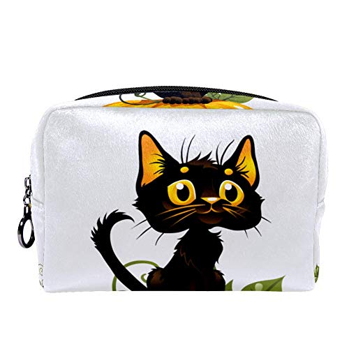 MAPOLO Black Cat On Halloween Pumpkin Makeup Bag Toiletry Bag for Women Skincare Cosmetic Handy Pouch Zipper Handbag -