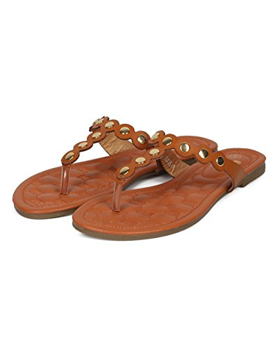 Alrisco Women Metallic Embellished Thong Sandal - T-Strap Flip Flop Flat Sandal - Casual Everyday Versatile Walking Sandal - HD60 by Betani Collection Camel Leatherette Vg9z1aJC