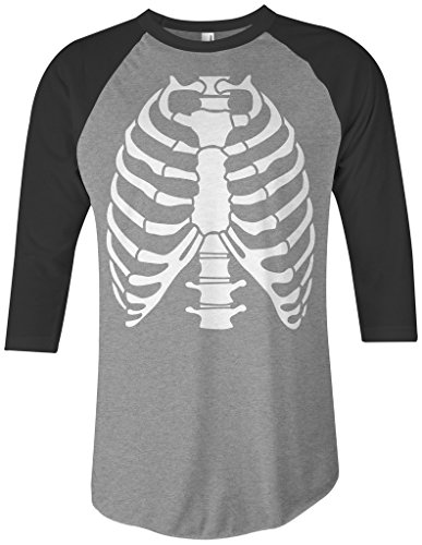 Rib Cage Tee (Threadrock Skeleton Rib Cage Halloween Costume Unisex Raglan T-Shirt XL Gray/Black)
