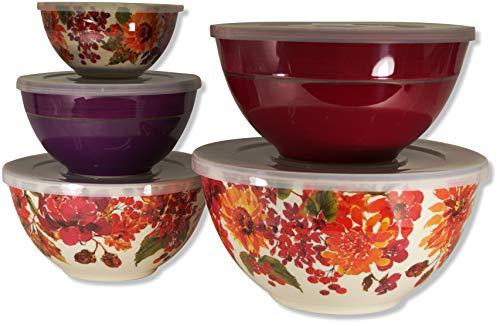 (Melamine 10-Piece Mixing Bowl Set - Floral)