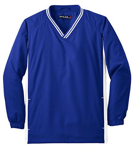 Sport-Tek Youth Tipped V-Neck Soft Wind Shirt_True Royal/White_Large - Tipped Jersey Sport Shirt