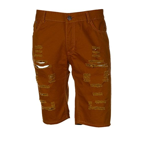 (iZHH Men's Casual Jeans Destroyed Knee Length Hole Ripped Pants(Brown,36))