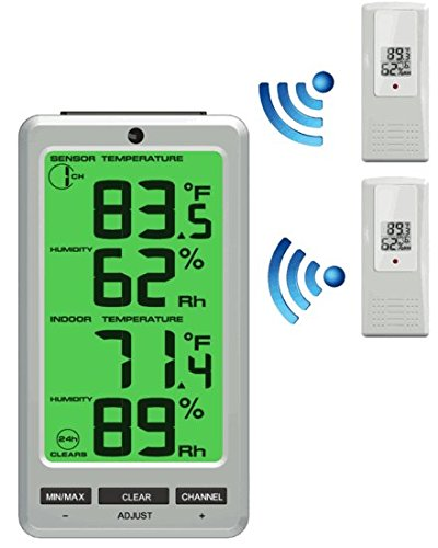 (Ambient Weather WS-23-X2 Big Digit 8-Channel Wireless Thermo-Hygrometer with Two Remote)
