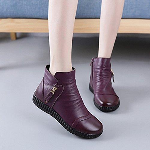 ZH Automne Et Hiver Des Chaussures de Femmes Européennes Et Américaines avec Des Bottes Courtes Bottes Imperméables à Tête Ronde Violet oht7UkN3
