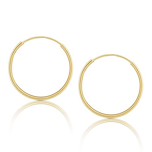14k Yellow Gold Women's Endless Tube Hoop Earrings 1mm-1.5mm Thick 10mm - 60mm Diameter ()