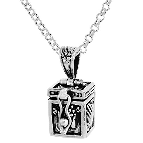 Prayer Praying Box Hands (Sterling Silver Prayer Box Necklace Praying Hand Design, 3/8 inch 18 inch Chain Rol_1)