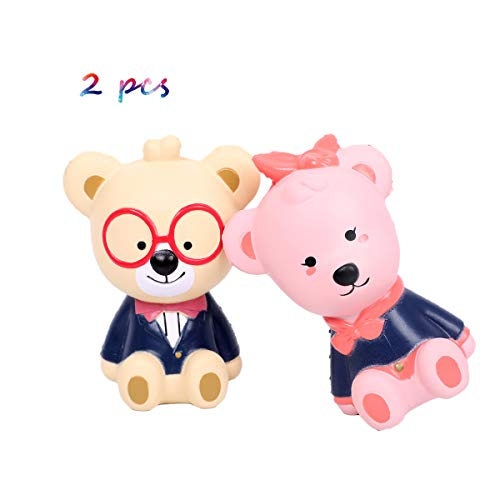 Acco Pally Squishies Jumbo Slow Rising Kawaii Cute Glasses Bear and Pink Bear Creamy Scented for Kids Party Toys Stress Reliever Toy