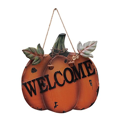 Wood Pumpkin Welcome Sign For Autumn Fall Harvest Thanksgiving Halloween, Hanging Wall Decor Door Sign With Metal Leaves And Jute String by Waroom Home