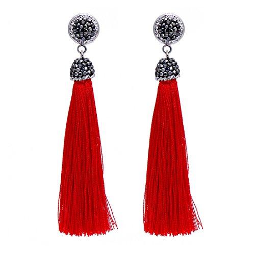 (Bohemia Long Tassel Earrings Women Black Rhinestone Drop Earrings (Red))