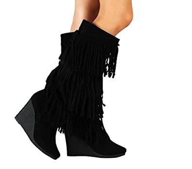 Amazon.com | Womens Faux Suede Fringe Wedge Knee High Heel Boots ...