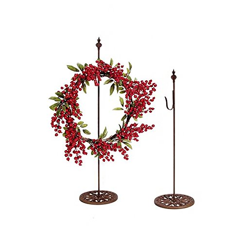 anding Metal Wreath Hanger (1pc) – Rusted Metal Color, Smooth Finish, Decorative Base – Holds Up To 5lbs in Weight – Perfect for Tabletop, Counter, Mantel – Hang Wreaths, Small Signs ()