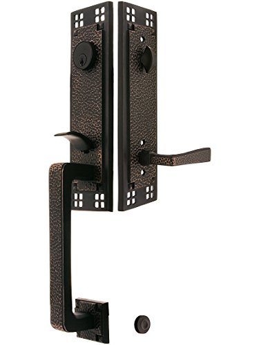 Crafts & Door Emtek Arts - Arts & Crafts Style Tubular Handleset in Oil Rubbed Bronze with Left Hand Hammered Levers and 2 3/8