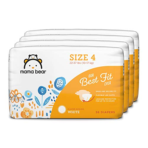 Amazon Brand – Mama Bear Best Fit Diapers Size 4, 144 Count, White Print (4 packs of 36) [Packaging May Vary]