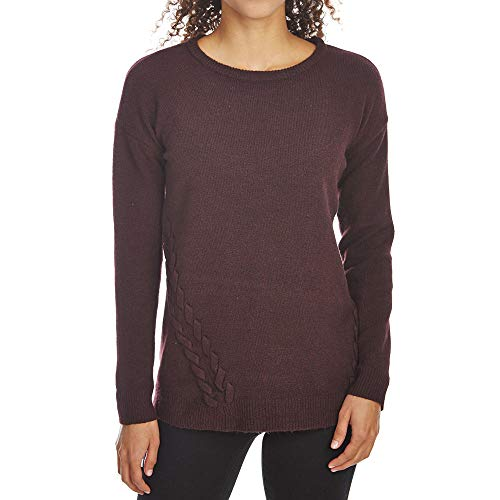 (PINK ROSE Women's Scoop Neck Drop Shoulder Long Sleeve Sweater w/Lace-Up Sides Night Shade Large)