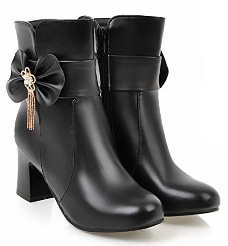 Aisun Womens Cute Chic Binnen Zip Up Ronde Teen Enkellaarsjes Chunky Mid Heels Korte Laarzen Met Strikjes Zwart