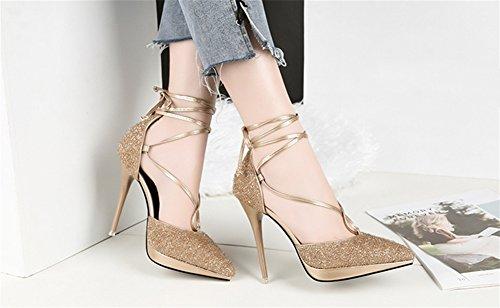 Nvxie Del 34 Los Mujeres Lentejuelas Heels Gold Las Sexy De Cordón High Moda Talón 38 Escoge Zapatos Tip Nightclub vFavr8