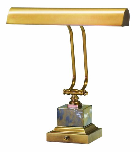 House of Troy P14-280-WB 12-Inch Portable Desk/Piano Lamp, Weathered Brass with Black and Tan Marble - Brass Traditional Movable Wall