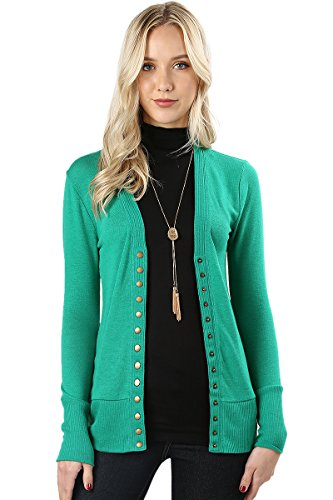 Green Kelly Ribbed (Cardigans for Women Long Sleeve Cardigan Knit Snap Button Sweater Regular & Plus - Kelly (Size 1X))