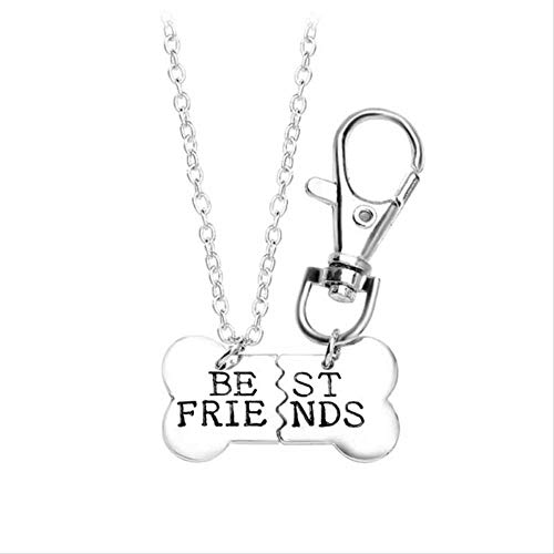 ACCTSY The 2 Pieces of Gold and Silver Dog Bone Pendant Best Friends Necklace Keychain A Half Necklace A Half Keychain Silver (Nintendogs Best Friends Cheats)