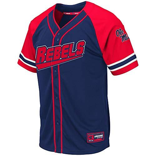 Colosseum Mens Ole Miss Rebels Wallis Baseball Jersey - L