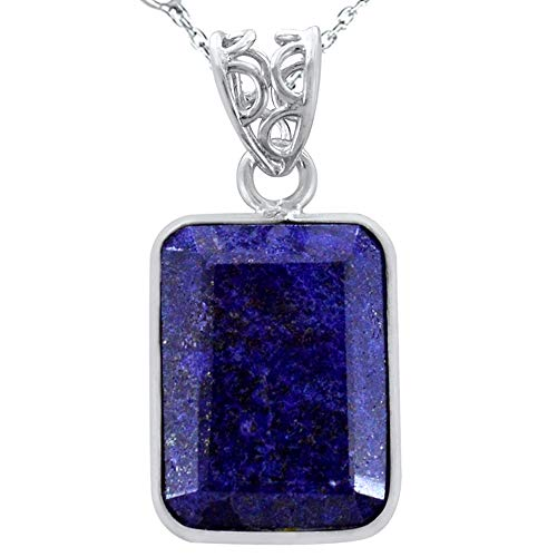 21.42 Ctw Natural Blue Lapis Stone Pendant Necklace By Orchid Jewelry : September Birthstone Sterling Silver Jewelry, Fine Solid Silver Pendant
