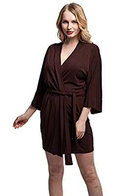 KimonoDeals Women's Soft Sleepwear Modal Cotton Wrap Robe, Short