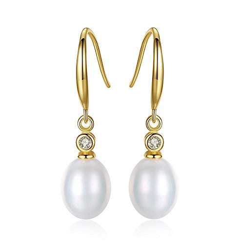 (Crystal Sterling Silver Freshwater Pearl 9mm Teardrop dangle Earrings Bridal Ear Studs Betrothal Jewels (golden))