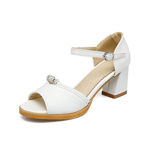 QIN&X Bloque de Mujer Tacones Peep Toe Sandalias Al Tobillo. White