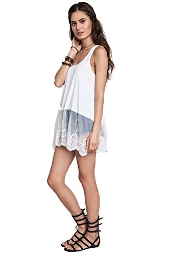 Tank Top Ribbed Lace (Plan B Fashions Women's Lace Bottom Ribbed Tank Top (M, Ivory))