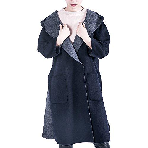 OYEAHGIRL Women's Wool Coat Jacket Winter Warm With Hooded (Navy Blue&Gray)