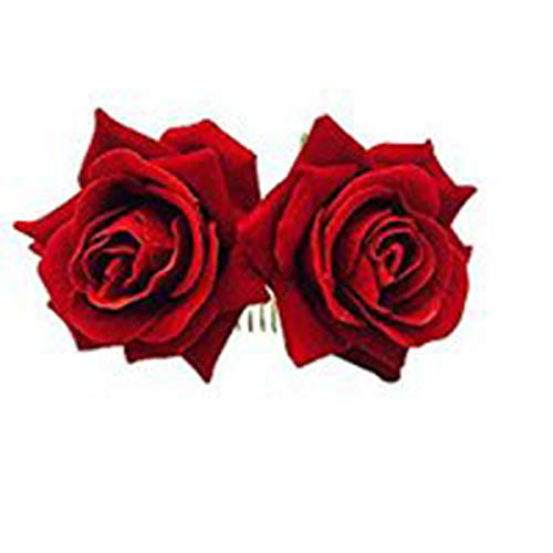 Ever Fairy Rose Flower Hair Clip Slide Flamenco Dancer Pin Flower Brooch Lady Hair Styling Clip Hair Accessories (Red(1pcs))]()