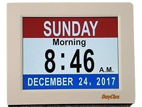 - DayClox Memory Loss Digital Calendar 5-Cycle Clock with Red White & Blue or Black & White Section Display