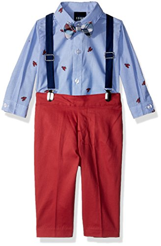 Izod boys 4-Piece Creeper, Bow Tie, Suspenders, and Pants Set, Lobster Bubble Gum, 3/6 Months -