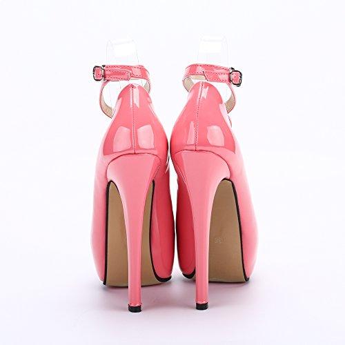 OCHENTA Moda Nuevo Zapatos con tacon alto para mujer plataforma #01 PU Melocoton rojo