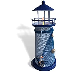BANBERRY DESIGNS Light House Candle Holder - Blue and White Nautical Style Lighthouse with a White Flameless Tealight - Beach Decor