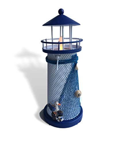 BANBERRY DESIGNS Nautical Themed Lighthouse Decor- Light House Candle Holder - Blue and White Lighthouse with LED White Flameless Tealight - 7