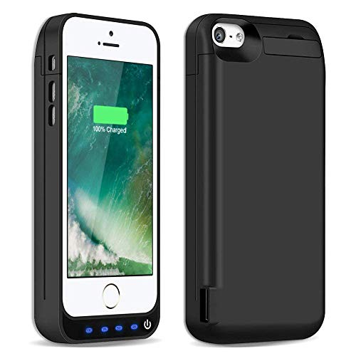 iPhone 5 5S 5C Battery Case, 4200mAh Charger Case External Battery Pack Rechargeable Charging Case Power Bank Protective Cover for iPhone 5 5S 5C (Black) -  FUNROSE, fun5c42