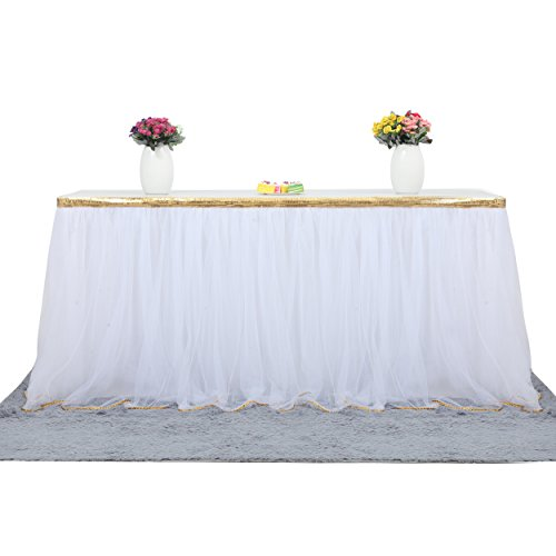 Table Skirt Fluffy 2 Layers Bling Gold Trim Mesh Tutu Tulle Table Skirt for Kitchen Dining Catering Wedding Birthday Party Decorations (White, 14 ft)
