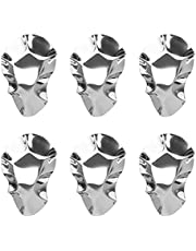 Cabilock 6 pcs Stainless Steel Oyster Plate Sauce Dishes Dipping Bowls Oyster Plate Oyster Serving Trays Stainless Steel Oyster Pan Oyster Shell Shaped Dishes for Lemons Sauce Oysters