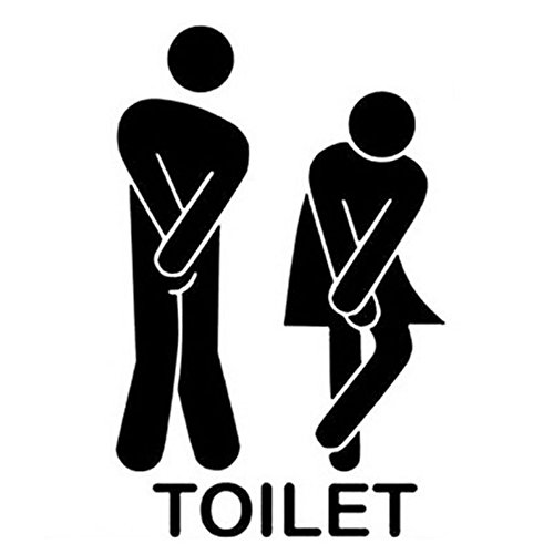 Futemo WC Wall Sticker Cute Washroom Toilet Wall Stickers Family DIY Decor Removable Room Decorations ()