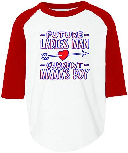 Amdesco Future Ladies Man Current Mamas Boy Toddler Raglan Shirt, White/Red 2T/3T