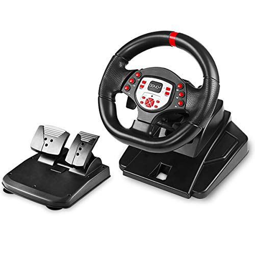 DOYO 180 Degree Motor Vibration Driving Sport Gaming Racing Wheel with Responsive Gear and Pedals Plug and Play for PS4/PS3/SWITCH/PC/TV BOX (Xbox 360 Steering Wheel And Pedals For Sale)