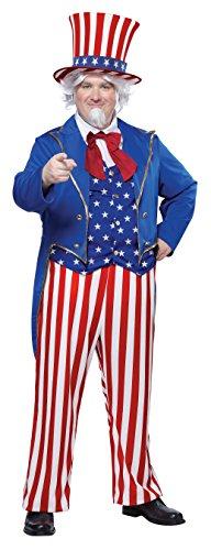 California Costumes Men's Uncle Sam Plus, Red/Blue/White, -