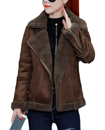 - KLJR Women's Winter Sherpa Lined Thick Faux Suede Leather Jacket Coffee US 2XL