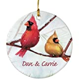 GiftsForYouNow Ceramic Cardinals Personalized Ornament