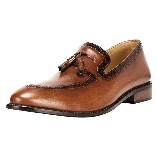 r Handmade Tassel Loafer Slip On Dress Shoes Tan ()