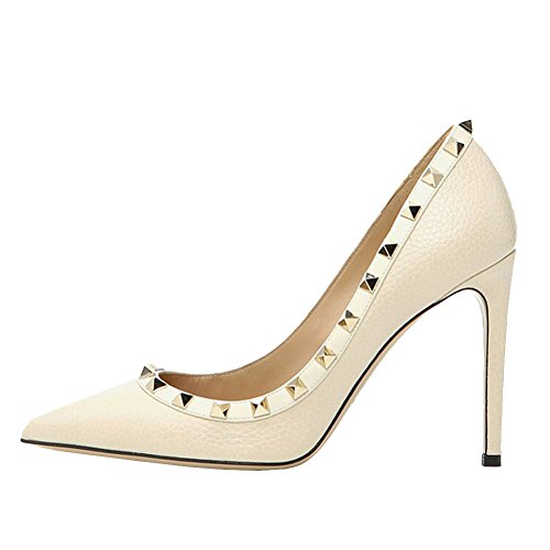 Women's Thin Heels,MERUMOTE Sexy Middle High Heels Shoes Pointed Toe with Rivets Pumps for Dress Daily Wear White-Lines
