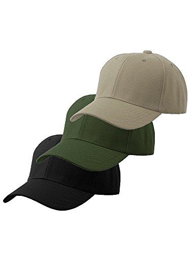 Plain Adjustable Velcro Baseball Cap (One Size, Black Olive (Pack Black Olive)