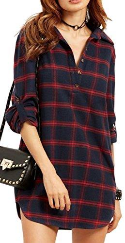 Irregolare Womens Immagine T Abiti Pulsante Mini Come Plaid Classico Cromoncent shirt 6qX6a4